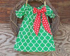 Girls Green Christmas Dress, Girls Holiday Dress, Green Peasant Dress, Kids Dress