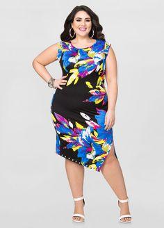 Printed Front Slit Stud Trim Dress Printed Front Slit Stud Trim Dress