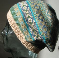 Gorgeous fairisle slouch beanie in cream by HamboHandknittedHats, £24.00
