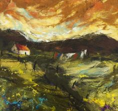 'Drying Day' Amazing needle felted painting of Scotland by Scottish artist Moy Mackay (1966). From her home in the Scottish Borders, she fuels her passion for color and texture with an unceasing inspiration drawn from her surroundings in the beautiful Tweed Valley, using merino fleece fibres in the same way that a painter uses brushstrokes. The result is a 'felt painting' of extraordinary warmth and texture.