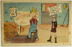 Postcard Farmer Milking Cow & Rich Nerd Boy Humor Comic 1938 linen Funny Cows, Out Of Touch, A Good Man, Farmer, I Am Awesome, Nerd, Humor, Comics, Boys