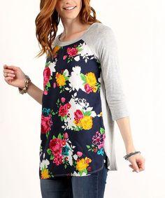 Look what I found on #zulily! Navy Floral Raglan Top by LARA Fashion #zulilyfinds