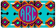 Personalized Monogrammed Ethnic Eclectic Aztec License Plate Custom Car Tag L212