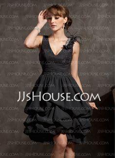 Cocktail Dresses - $132.99 - A-Line/Princess V-neck Knee-Length Chiffon Lace Cocktail Dress With Ruffle Beading Feather (016014834) http://jjshouse.com/A-Line-Princess-V-Neck-Knee-Length-Chiffon-Lace-Cocktail-Dress-With-Ruffle-Beading-Feather-016014834-g14834