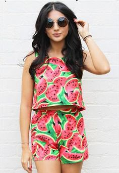 Watermelon Print Crop Top & High Waisted Shorts Co-ord Set from One Nation Clothing