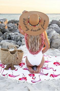 I LOVE this bathing suit, that flower detail around the trim is gorgeous!