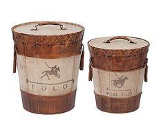Set de 2 cestas con tapa en metal y cuero