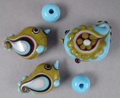 Handmade Art Glass Lampwork Bead Set of 5 by Patti by patticahill, $55.00