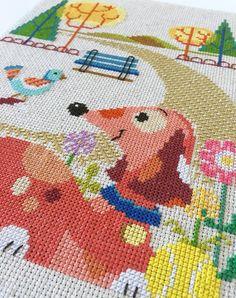 Dog Park modern cross stitch pattern PDF by SatsumaStreet