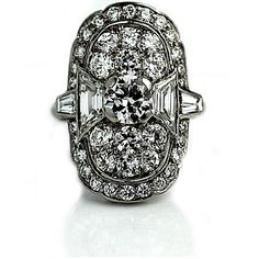 Mid Century Platinum Old European Cut and Trapezoid Cut Diamond Engagement Ring Circa 1970's #weddings