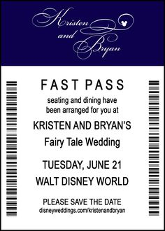 Disney Save the Date - Escort Card