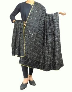 Cotton Bagh/Phulkari Dupatta-Black.Get quality ethnic products and great service with GiftPiper.com. Pay COD, 15 day returns (Resellers are welcome- WhatsApp us on 9902488133) 15% Discount on Orders Above Rs 1000 with voucher code-FACEBOOK