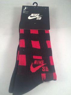 New Nike 1 Pair Crew Socks Mens Shoe Size 8-12 L Red Black Gift Skateboard #Nike #Athletic