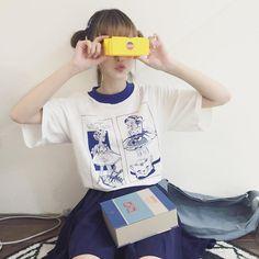 94309715f Retro Hand Drawn Tumblr T-Shirt - Mermaid Freak High Collar, T Shirts For