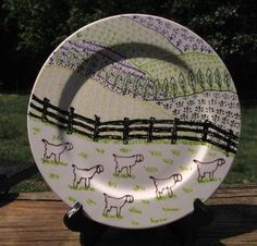 Hand painted Ceramic Colored rimmed Plate of by lavenderhollow, $18.00