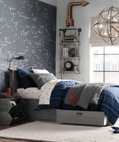 This night sky accent wall would be fun for astronomy fans of every age. Let…