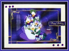 Pansies in a Teacup on Craftsuprint designed by Vicki Avcin - made by Rae Trees - I printed the design on good quality matte photo paper and attached the base to a white card I decoupaged the elements with silicone glue and added one of the sentiments. I added some small gems to the top and bottom of the card. Lovely design. - Now available for download!