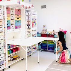 Your craft organization dreams come true! Craft Closet Organization, Craft Room Storage, Organization Ideas, Diy Storage, Craft Organizer Cabinet, Paper Storage, Organizing Tips, Storage Ideas, Small Sewing Rooms