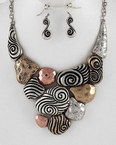 Chunky Western Silver Gold Copper Swirl Design Statement Necklace Earrings Set