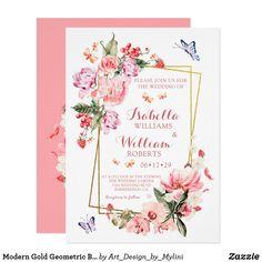 Shop Modern Gold Geometric Blush Bloom Floral Wedding Invitation created by Art_Design_by_Mylini. Elegant Invitations, Modern Wedding Invitations, Wedding Invitation Cards, Zazzle Invitations, Party Invitations, Geometric Flower, Romantic Weddings, Wedding Suits, Celebrity Weddings
