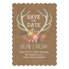 CUSTOMIZABLE FLORAL ANTLERS | RUSTIC SAVE THE DATE by the Antique Chandelier. Customize and purchase at http://www.zazzle.com/floral_antlers_rustic_save_the_date_invitation-161577955449885393?rf=238589399507967362. Pin to your #wedding #woodland inspiration boards!