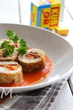 Ballotines de poulet et sauce au poivron rouge