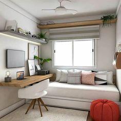 home decor habitacion fascinating bedroom decor ideas for your dream room KP Design Guest Bedroom Office, Small Room Bedroom, Small Rooms, Small Apartments, Bedroom Decor, Bedroom Ideas, Small Spaces, Bedroom Storage, Modern Bedroom