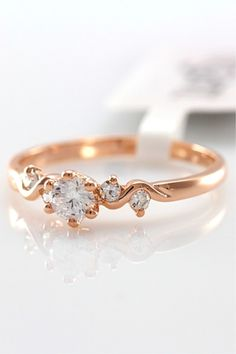 Simple Style 18k Rose Gold Gilding Ring
