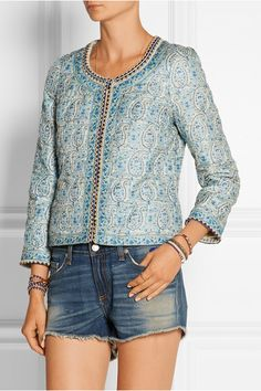 Talitha Embellished printed silk jacket blue boho cropped