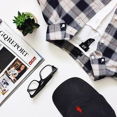 A.12.16 // Plaids & Henleys /   You do not need a proper shirt and tie to be dapper. Incorporate t-shirts and henleys into your look, and still get that chic look - @shesagent  #flatlay #flatlays #flatlayapp www.flat-lay.com