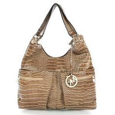 Charming Michael Kors Embossed Large Beige Hobo Make You To BeCrazy
