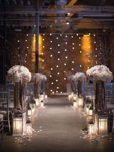 Cherry blossoms and candlelight created a romantic atmosphere at this big city celebration.