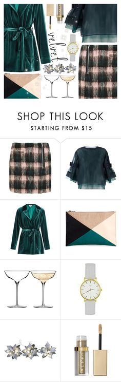 """Crushing on Velvet"" by ana3blue ❤ liked on Polyvore featuring Markus Lupfer, Sacai, LUISA BECCARIA, Sole Society, Waterford, Starlite Creations and Stila"