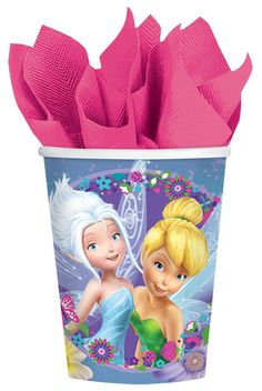 Complete your Tinkerbell birthday party tableware with these awesome and colorful purple Tinkerbell and Periwinkle 9 ounce paper cups for hot and cold drinks. Perfect for birthday parties. Includes 8