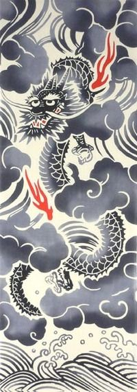 【江戸染】手ぬぐい「昇り龍・黒」(ベージュ地)◎【楽ギフ_包装】【楽ギフ_のし宛書】