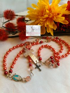 Rosary /Prayer Beads/Rose Pink and Silver/Two Crosses Silver/Picture of Mary Centerpiece/Catholic/Handmade/Traditional   LR#0038 by Justmyhands1Rosaries on Etsy