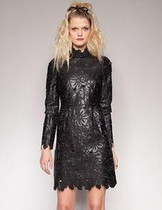 Leather flower laser cut dress