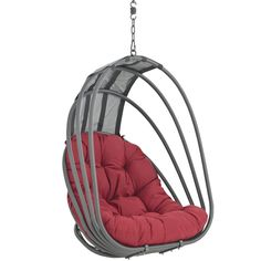 While away the hours in this patio swing chair. This swing has a sturdy aluminum frame and a rust-resistant stainless steel base, and the chair features an all-weather cushion for a comfortably padded
