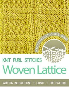 Woven Lattice Stitch (Aka Woven Lattice With Moss Stitfh, aka Moss Stitch Checks Stitch). A lovely reversible pattern using lattice and moss stitch. Knit Purl Stitches, Knitting Stiches, Knitting Patterns, Sweater Patterns, Yarn Projects, Knitting Projects, Moss Stitch, How To Purl Knit, Crochet For Beginners