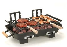 Charcoal Grills Hibachi Cast Iron Cooking Grids Curved Up BBQ Handles Wood Pork #MarshAllen#HibachiGrills#CastIron#CharcoalGrill