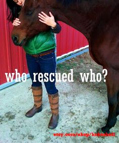 The people who rescue horses are generally saved by the rescued horses in some profound way.