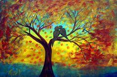 Abstract Original Painting Fall Tree Landscape Love by LUIZAVIZOLI
