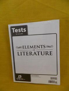 Bob Jones Elements of Literature Student Tests, 2nd  Edition, New 10th Grade #WorkbookStudyGuide