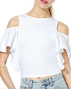 White off the shoulder tops for women short crop tops flouncing sleeve