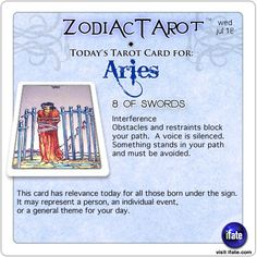 Daily tarot card for Aries from ZodiacTarot! Your horoscope for today is waiting for you, Aries. Visit iFate.com today!
