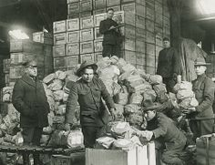 Packing matzo for shipment to troops, 1917-1919. From the Center for Jewish History, NYC