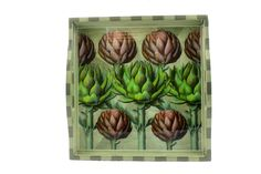12x12 small tray - Artichoke The artichoke is a perennial thistle that originated in the Mediterranean. The artichoke is technically a flower bud that has not yet bloomed. One artichoke plant can produce more than 20 artichokes per year.