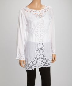 Loving this White Crochet Lace Tunic - Women & Plus on #zulily! #zulilyfinds