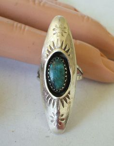 Vintage NAVAJO Hand-Stamped Sterling Silver & ShadowBox TURQUOISE RING size 7.  TurquoiseKachina, $80.10