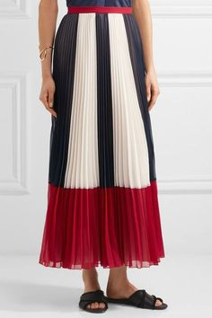 REDValentino - Color-block Plissé Chiffon Maxi Skirt - Blue - IT